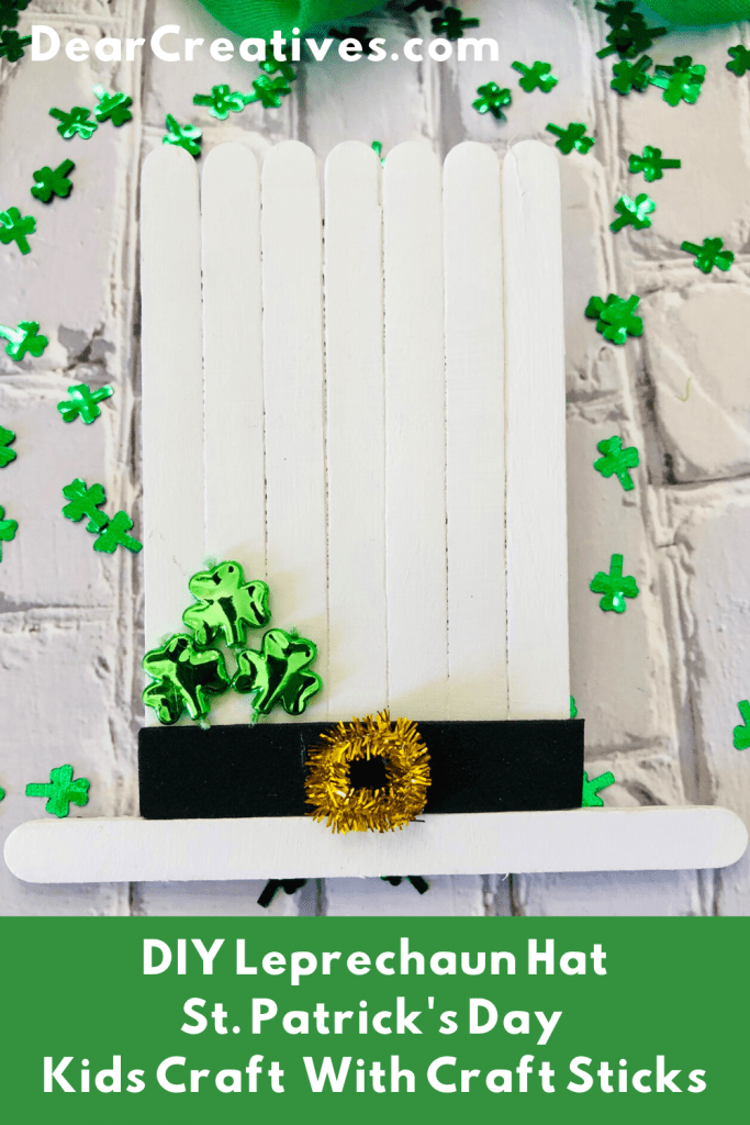 DIY Leprechaun Hat - St. Patrick's Day Kids Craft with craft sticks (popsicle sticks)... DearCreatives.com