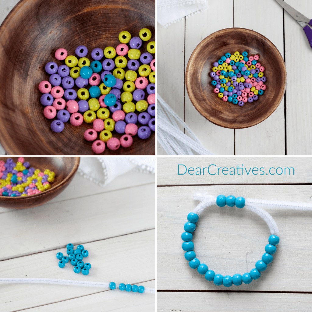 DIY Napkin Rings - How to make bead napkin rings. Instructions part 1 first 4 steps at DearCreatives.com