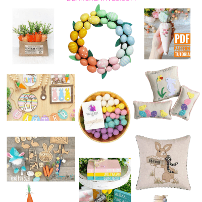 Easter Decor and Easter Decorations to buy and DIY. Easter pillows, Easter egg wreath, fabric carrots, Easter gnome, Easter pillows pom pom garland, Easter Tiered shelf decor... Which would you do_ Either way these are the cutest ideas for decorating for spring and Easter! Find all the ideas for spring and Easter at DearCreatives.com