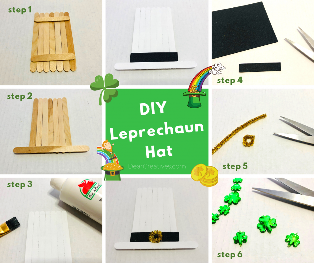 Popsicle Stick Leprechaun Hat - Steps for making Kids Craft made with crafts sticks, paint, construction paper or pens, pipe cleaner and faux clovers... DearCreatives.com