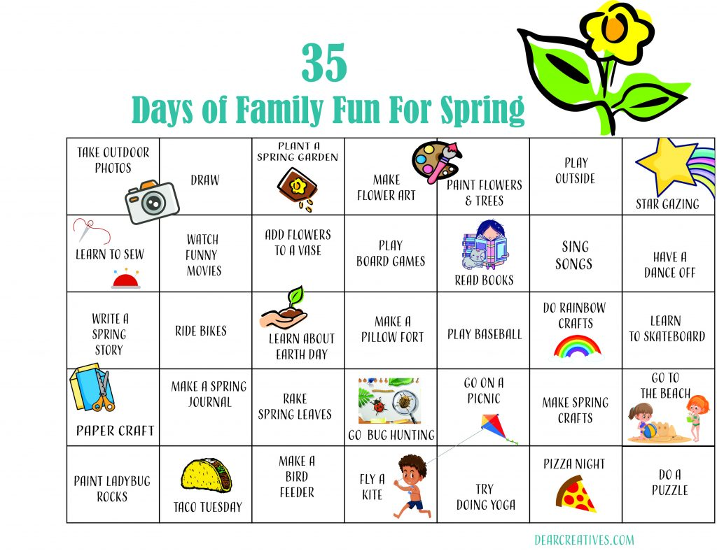 Spring Activity Calendar-A bucket list of spring activities. Fun stuff for the whole family to do in the spring. DearCreatives.com
