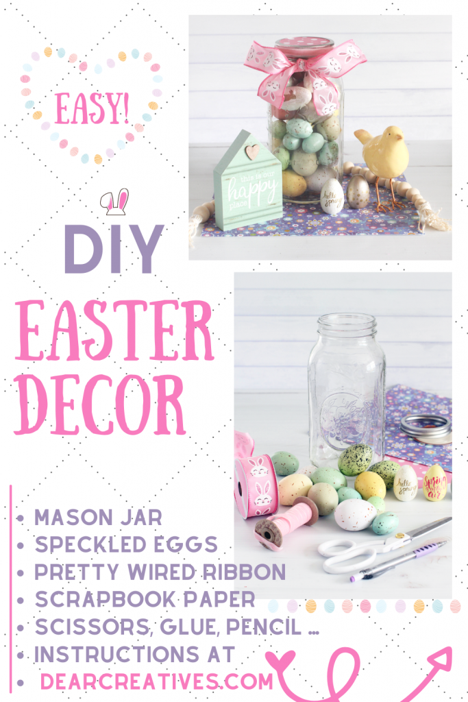 DIY Easter Decor - Use speckled eggs, decoupaged eggs, wired ribbon, and a mason jar... Spring Craft _ DIY at DearCreatives.com