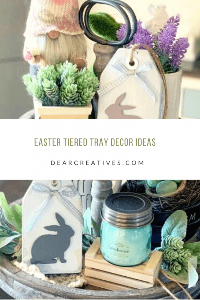 Easter tiered Tray Decor Ideas - ideas for spring decorating - DearCreatives.com