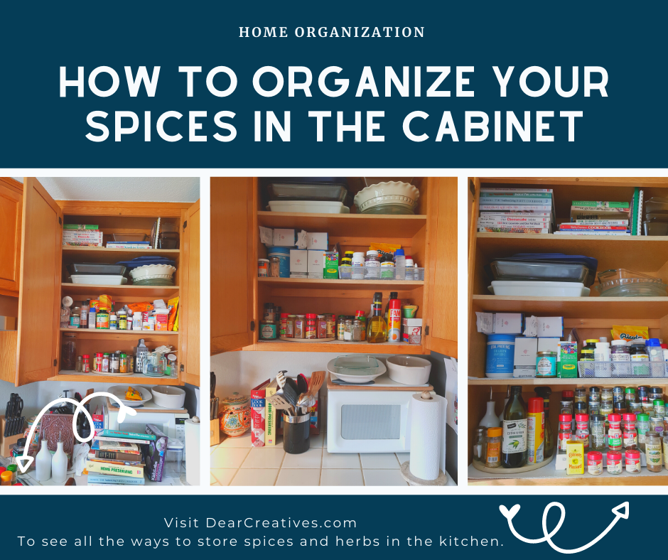 How To Organize Spices - Step by step guide to setting up your kitchen and organizing your spices and herbs. DearCreatives.com -