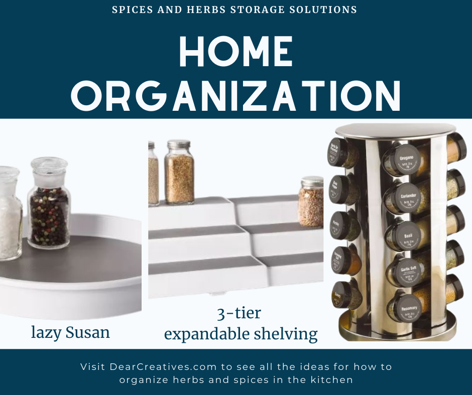 How To Organize Spices - Storage solutions for making it easier to grab and use your spices and herbs. DearCreatives.com -