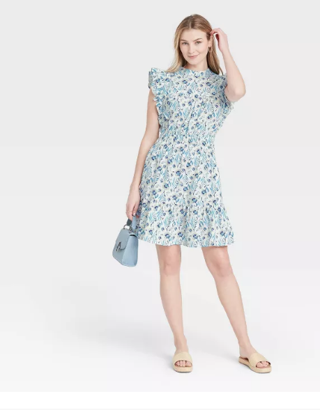 Cute Spring Dress With Flutter Sleeves