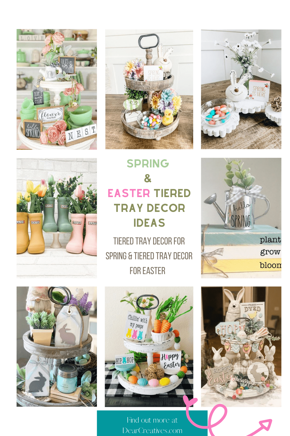 Spring Easter Tiered Tray Decor Ideas