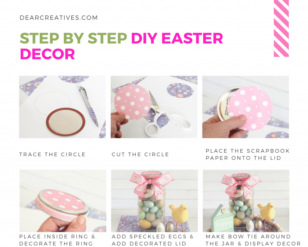 Step by step DIY Easter Decor - Make this easy spring craft - Easter craft. Find this and more DIYs at DearCreatives.com