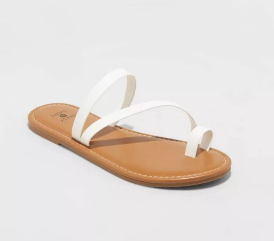 white asymmetrical sandals with toe ring and skinny straps