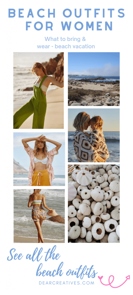 Beach Outfits - What to wear and bring to the beach. Beach vacation outfits for women - DearCreatives.com