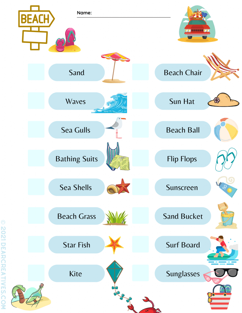 Beach Scavenger Hunt Activity - Print the printable - List of things you can find at the beach to find and check off. Grab the beach treasure hunt at DearCreatives.com