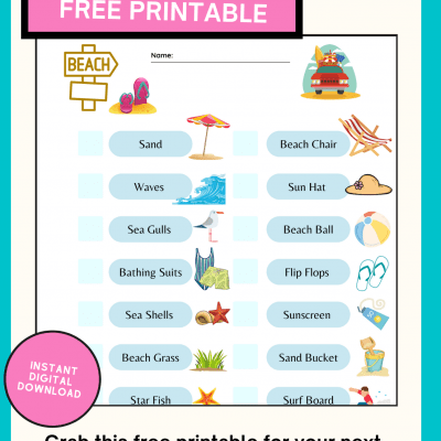Beach Scavenger Hunt Printable - Beach Activity For Kids - Print the printable in PDF or PNG format and take it with you for a fun kids activity at the beach! DearCreatives.com