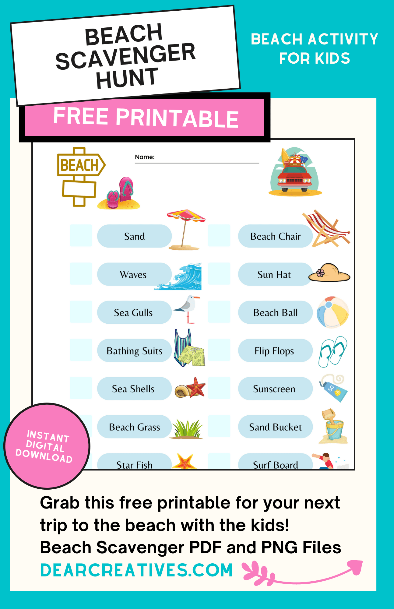 Printable Beach Scavenger Hunt (FREE)