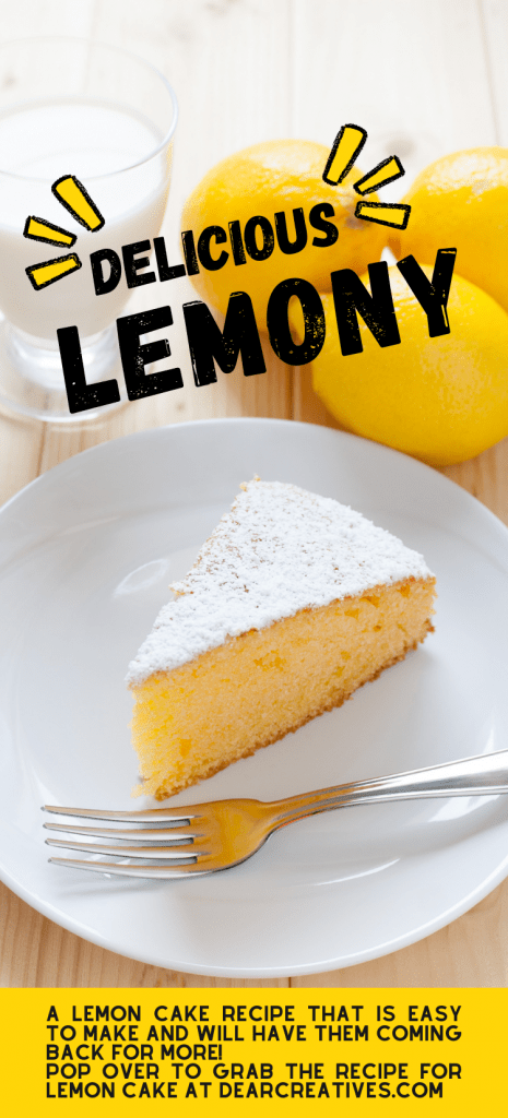 Lemon cake recipe - easy to make lemon cake! Moist and delicious topped with glazed that soaks in the cake and sprinkled with powdered sugar! DearCreatives.com