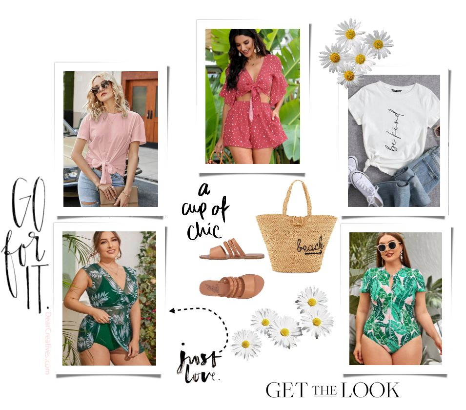 Spring Summer Trends For Women - cute short sets, tie front t-shirt with knot, jeans and t-shirts, swimwear - one and two piece swimsuits, beach bag, sandals...Get the Looks and see more outfit ideas for spring and summer. DearCreatives.com