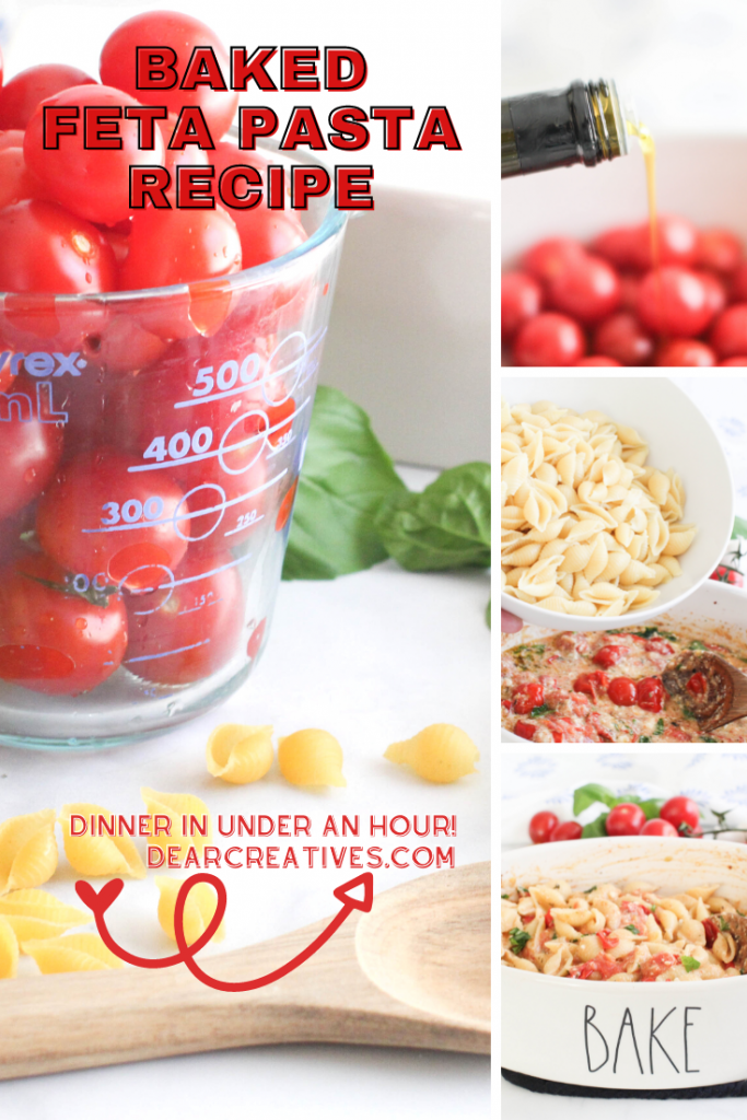 Baked Feta Pasta Recipe - baked feta pasta with cherry tomatoes is easy to make in the oven, add cooked pasta noodles and stir. Make this fresh, tasty and easy dinner. DearCreatives.com