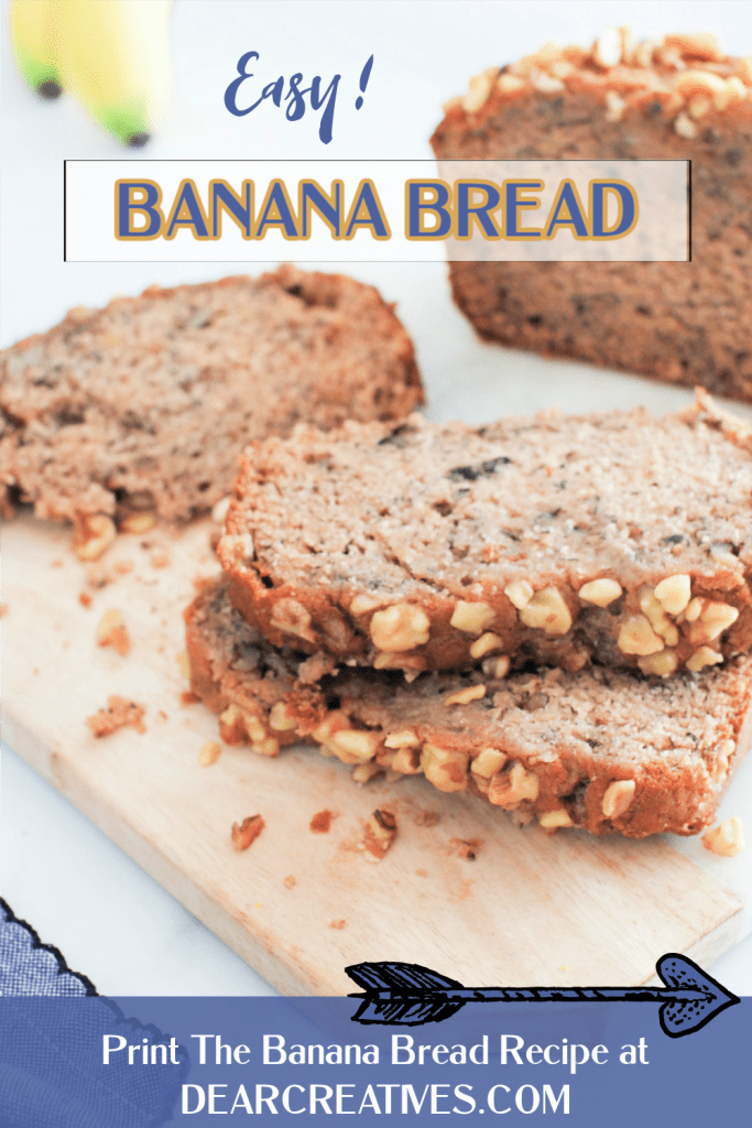 Banana Bread Recipe - This is an easy, moist, banana bread with walnuts. This homemade banana bread is for the win! Grab the recipe at Dearcreatives.com