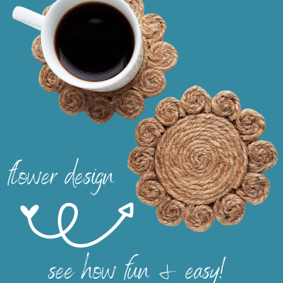 How To Make Coasters - DIY Jute Rope Coasters - Flower Design for Rope Coasters - DearCreatives.com