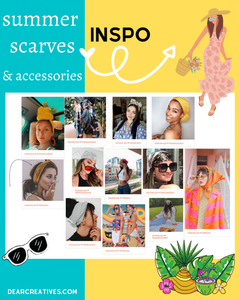 How to wear scarves for summer. Style inspiration, ideas and scarves for summer. DearCreatives.com