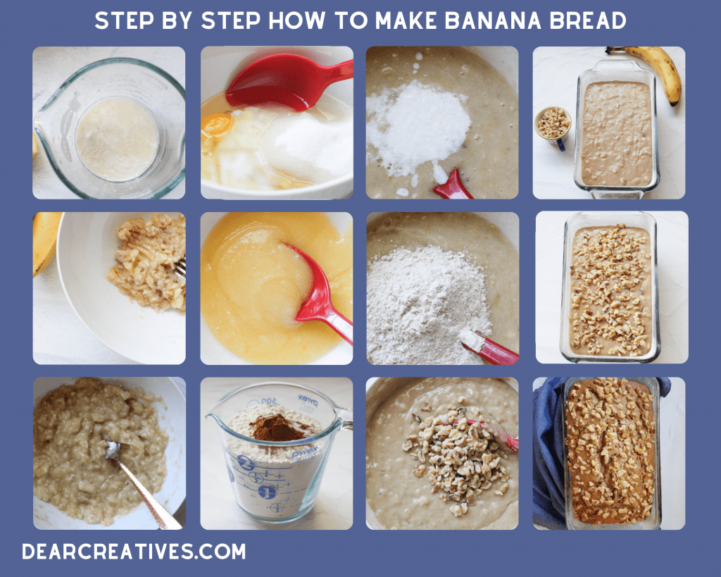 Step By Step How To Make Banana Bread for the recipe and instructions go to DearCreatives.com