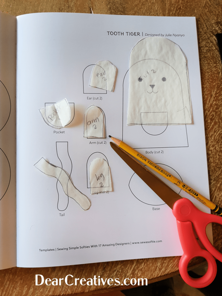 Tracing hand sewing template for a felt pattern from the craft book Sewing Simple Softies... DearCreatives.com