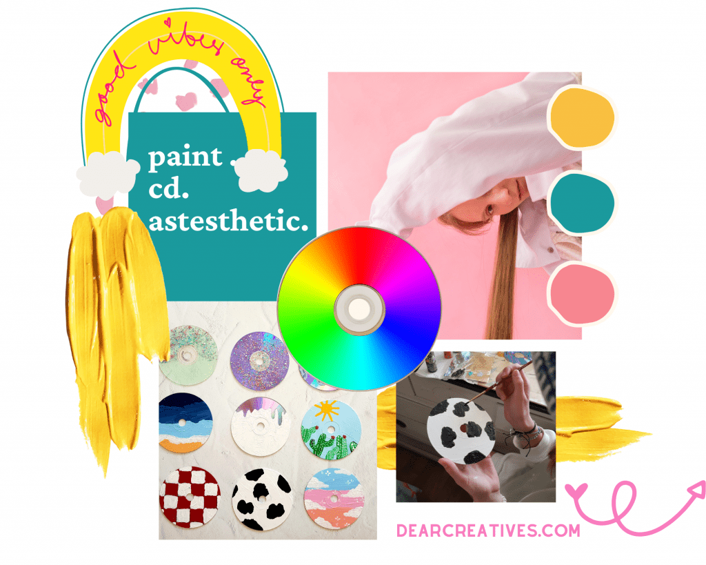 CDs Aesthetic - Instructions and tips for painting CDs. Fun and easy paint craft project. DIY - DearCreatives.com