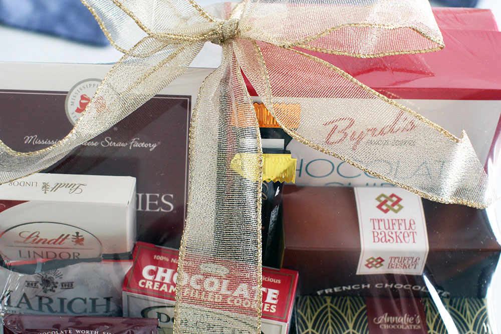 Close up of a gift basket with chocolate from Gourmet Gift Baskets - See more gift basket ideas and gift basket images... at © DearCreatives.com