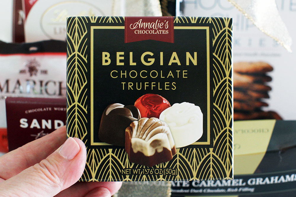 Father's Day Gift Basket includes Belgian chocolate truffles and other gourmet chocolates - Find out more at