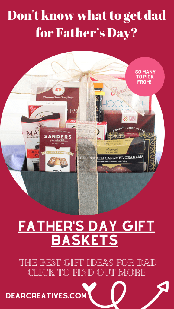 Father's Day Gift Baskets - Celebrate dad! The best gift baskets for a dad, grandpa, step-dad, or other father figures. Find out more gift ideas at DearCreatives.com