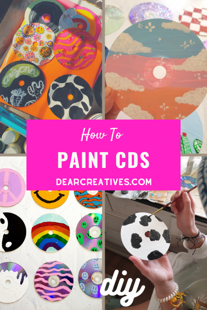 How To Paint CDs - DIY for kids, teens and adults - Made with acrylic paints, CDs, and paintbrushes... - DearCreatives.com