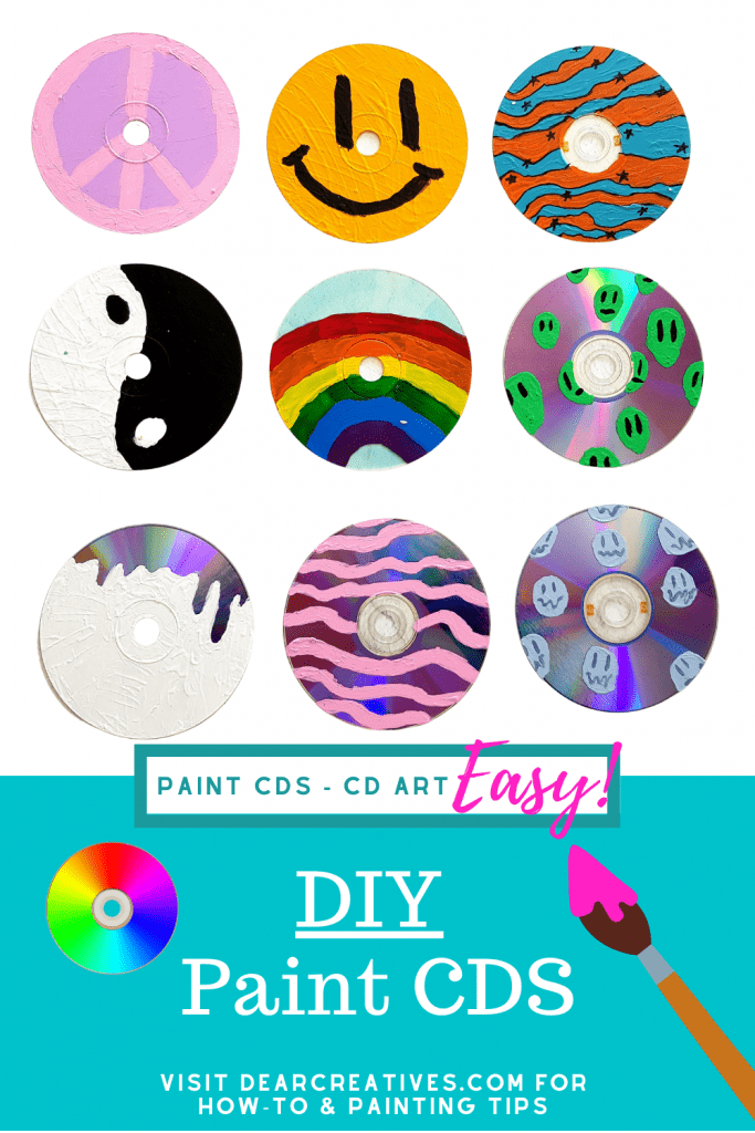 Paint CDs - How to paint CDs Try this paint craft! Crafts for Kids, Teen Craft and Adult Crafts. - See this DIY Craft Project + Tips DearCreatives.com