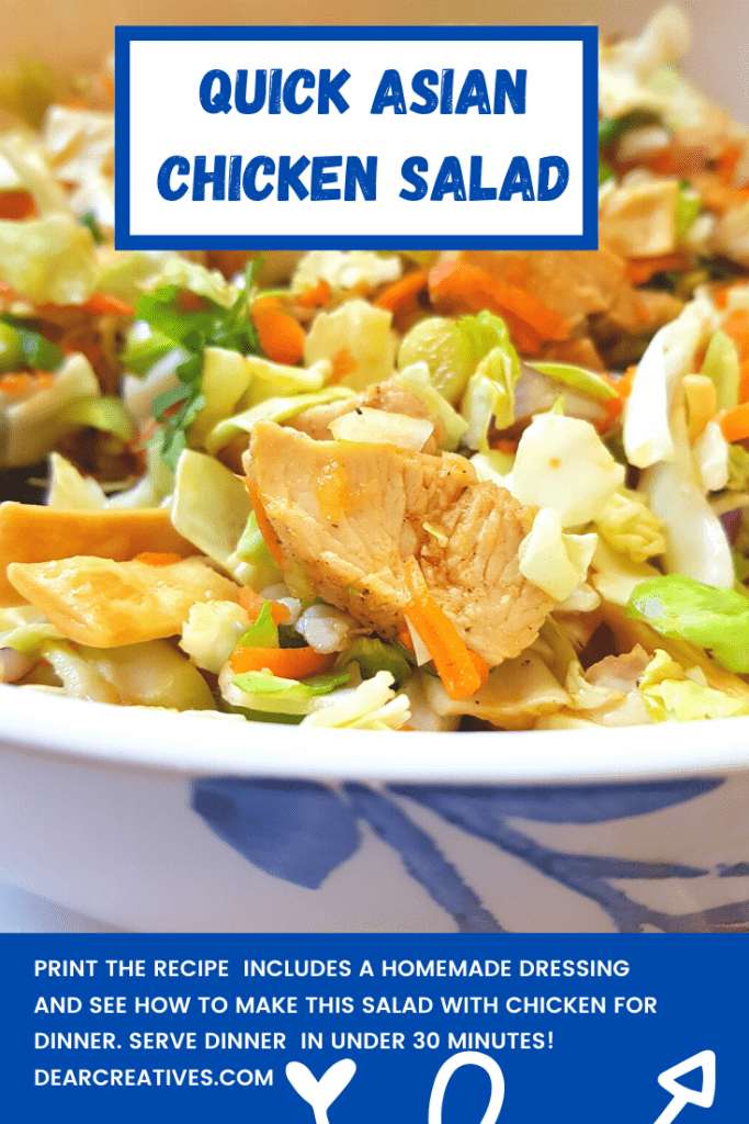 Quick Asian Chicken Salad - This is a quick and easy dinner and ready under 30 minutes! - DearCreatives.com.