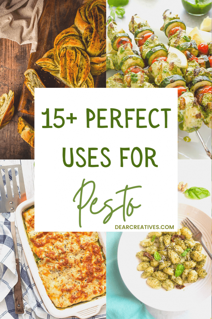 15+ Perfect uses for pesto! Try any of these recipes using pesto for your next dinner. List of recipes with pesto at DearCreatives.com