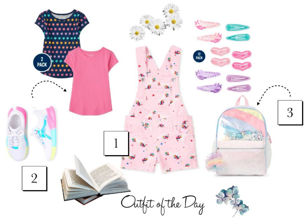Back To School Outfit - cute girls shortalls, girls top, girls sneakers, backpack and hair accessories - See more outfit ideas and find out more at DearCreatives.com
