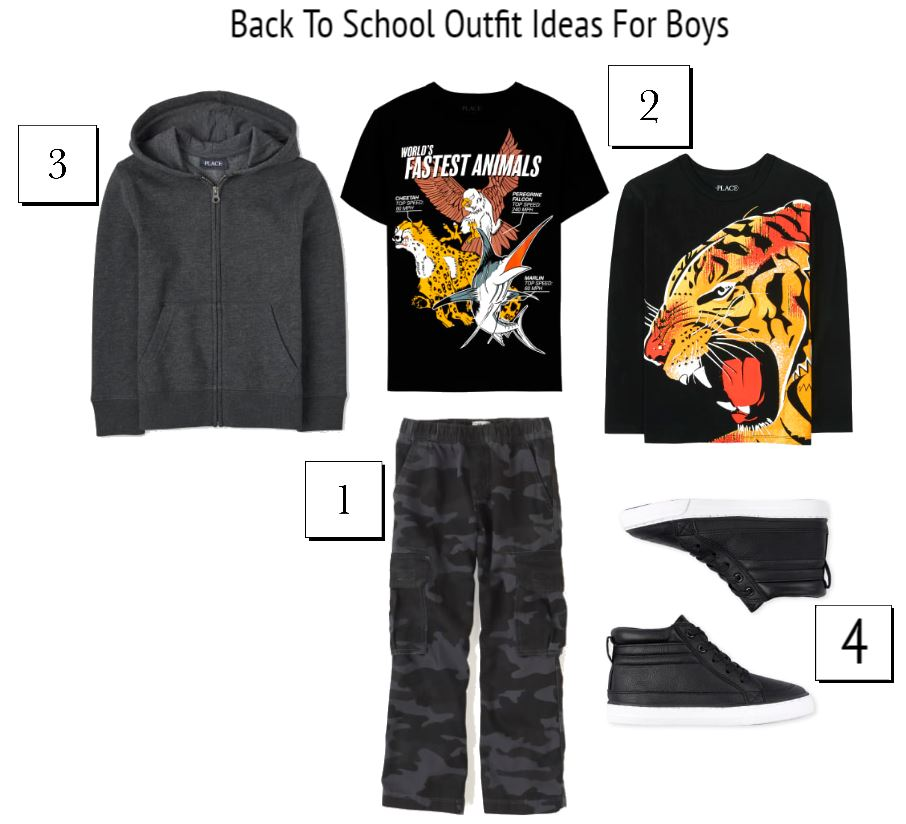 Back To School Outfits For Boys - Zip up hoodies for boys, graphic tee shirts for boys, sneakers for boys, camo pants for boys... DearCreatives.com