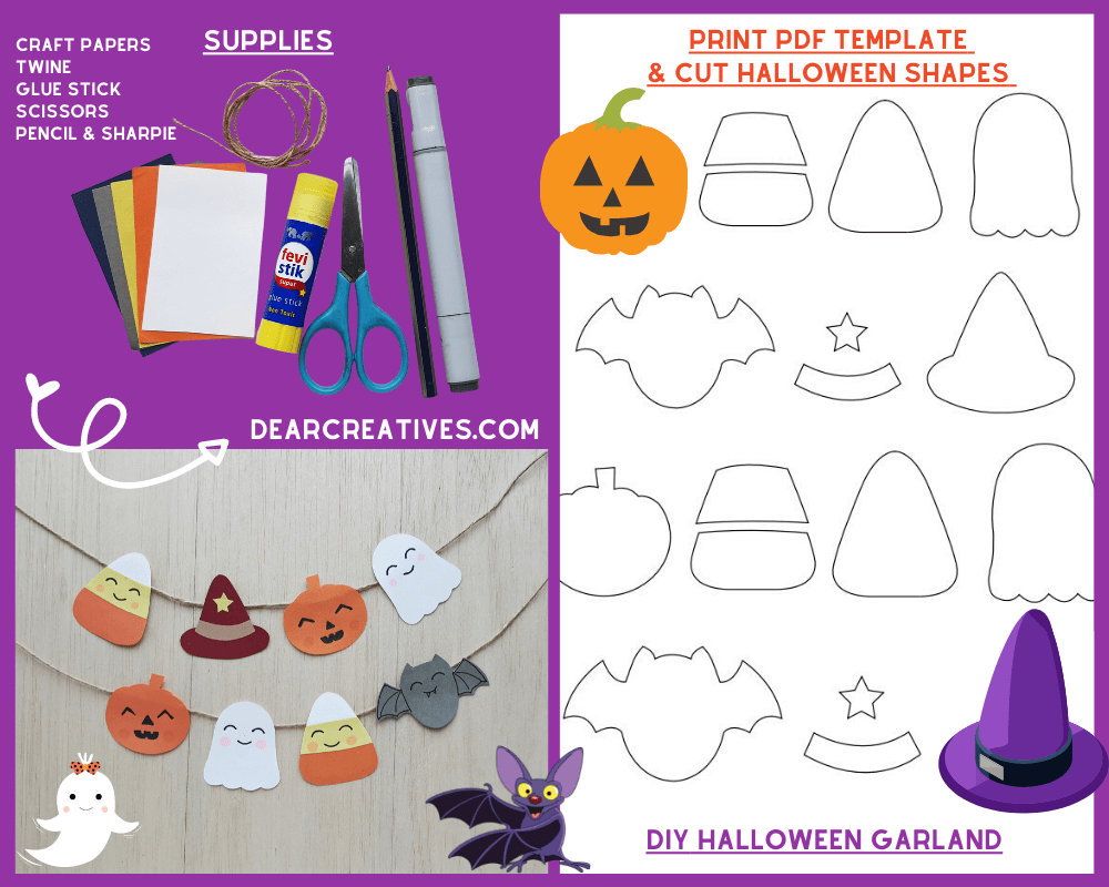 DIY Halloween Garland - print the template with a pumpkin, ghost, bat, witches' hat, candy corn... And with a few craft supplies make this Halloween garland! See the how to at DearCreatives.com