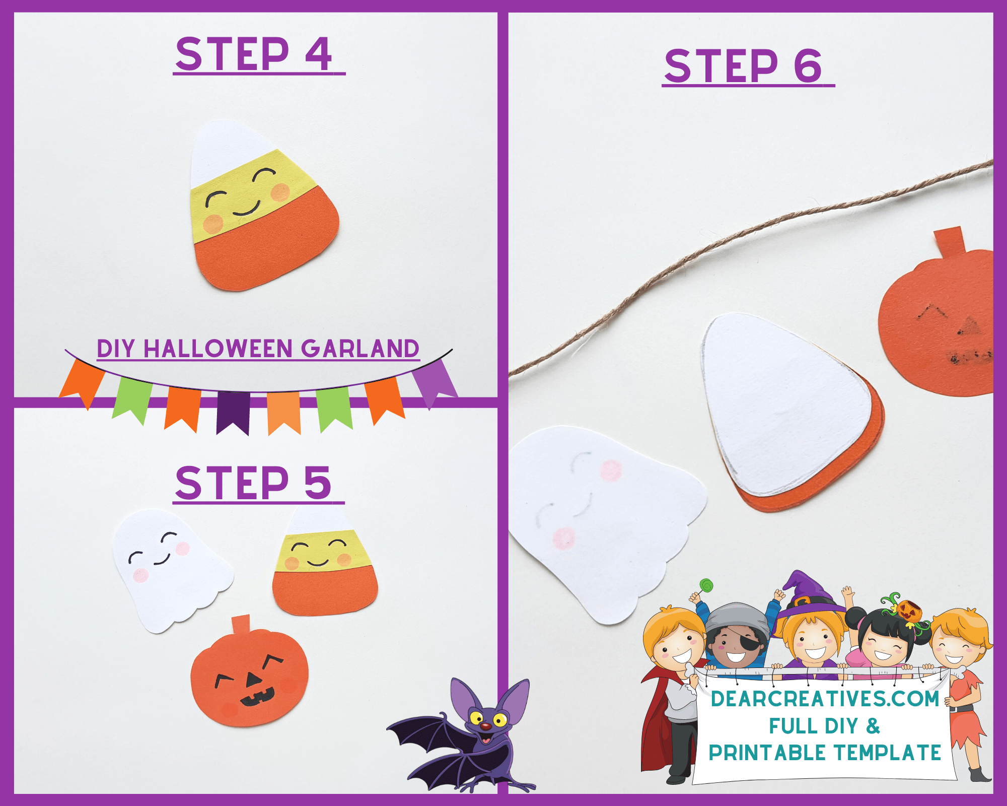 DIY Halloween banner - print the template - Trace the template patterns on the selected craft papers. Full tutorial and template at DearCreatives.com