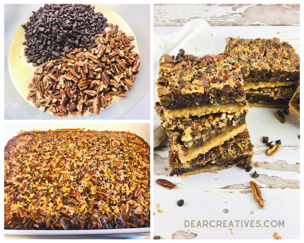 How to make chocolate pecan bars - recipe and instructions at DearCreatives.com