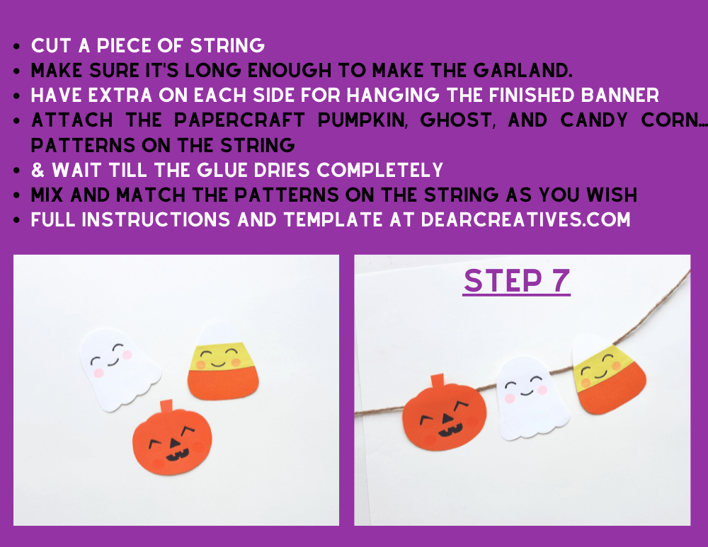 Instructions for making a cute Halloween Banner - This Halloween garland is quick and easy to make! DIY at DearCreatives.com