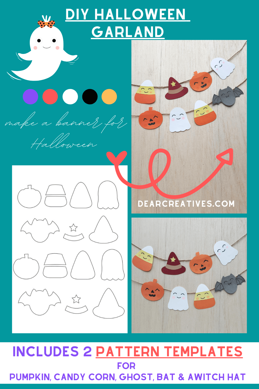Make a Halloween Banner - This DIY includes two different sizes of pattern templates for a pumpkin, candy corn, ghost, bat and a witch hat. See how to make it!