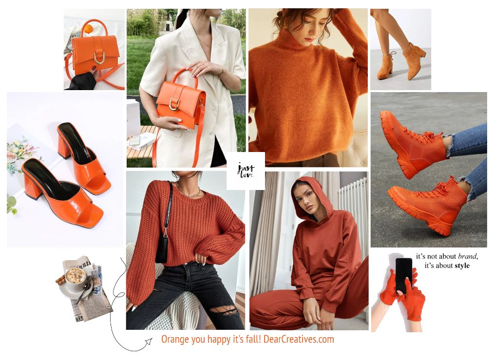 Aren't you happy it's fall - Orange fall fashions and fashion trends and sales for fall - DearCreatives.com