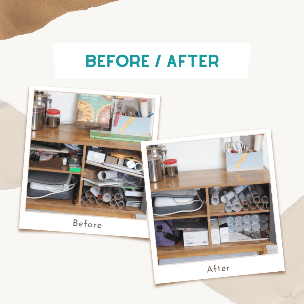 Craft Room Organization Ideas Before - After craft room organization. Cricut Supplies in a cabinet ... Find out more DearCreatives.com