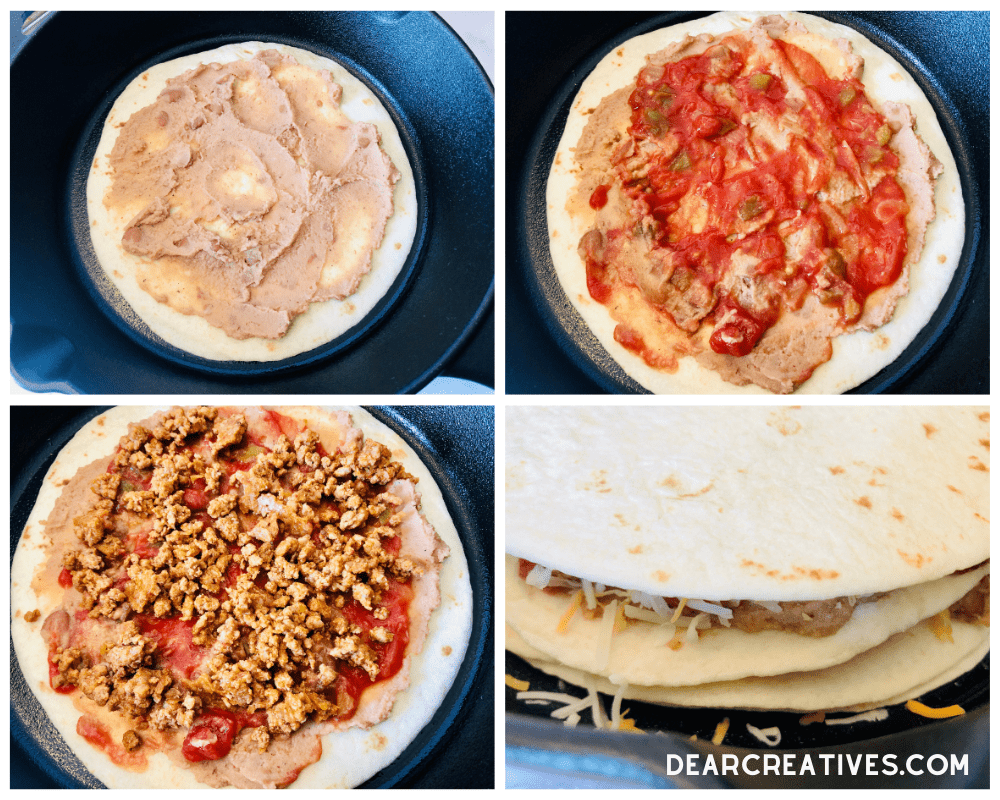 How to make a taco pie - layering the ingredients onto flour tortillas - recipe at DearCreatives.com