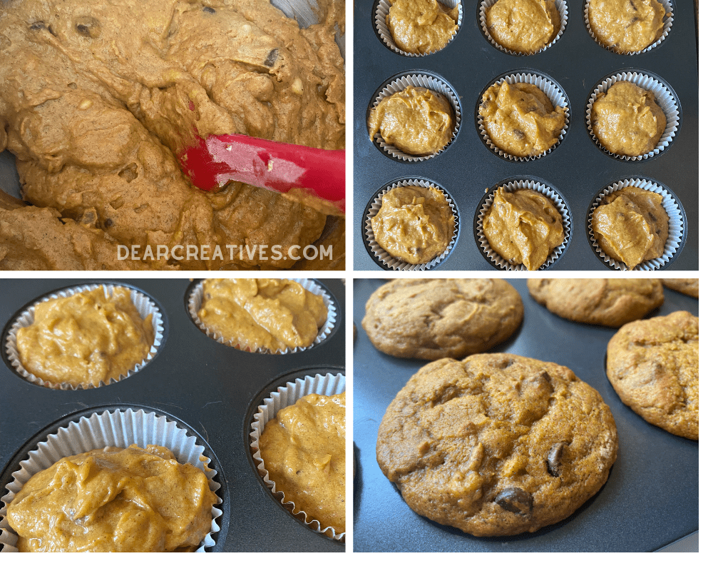 How to make banana pumpkin muffins -The pumpkin muffins with banana and chocolate chips... Recipe at DearCreatives.com