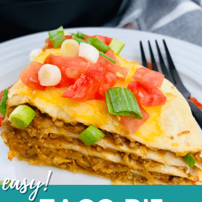 Taco Pie - Layer beans, salsa, lean ground meat and shredded cheese on soft flour tortillas, bake and garnish! Dinner in 30 minutes. Easy to make and tasty! Print the Taco Pie recipe at DearCreatives.com