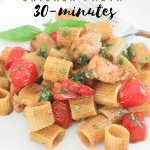 Creamy Pesto Sauce, Chicken, Pasta Noodles, optional tomatoes and garnishes. Ready in 30-minutes. Pasta for dinner recipe at DearCreatives.com