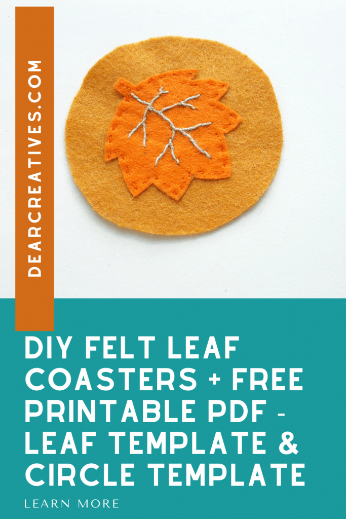 DIY Felt Leaf Coasters - Make felt coasters for fall with this free leaf pattern and circle pattern. Full instructions and template with designs at DearCreatives.com