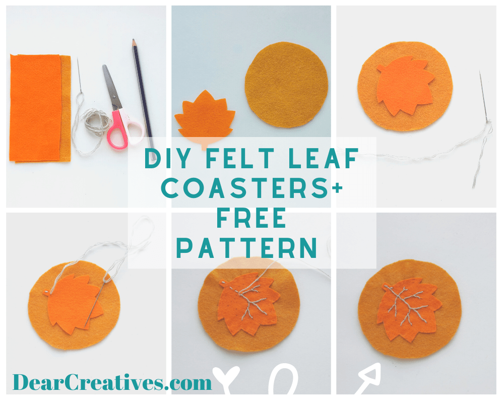 How To Make Felt Leaf Coasters - Includes leaf template and circle template. Grab this felt leaf pattern with step by step instructions at DearCreatives.com