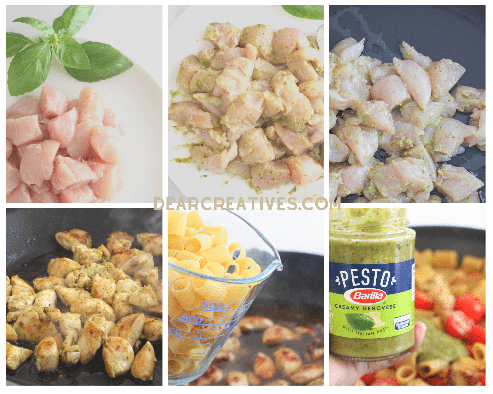 How to make pesto pasta with chicken - Step-by-Step images, instructions print the recipe at DearCreatives.com