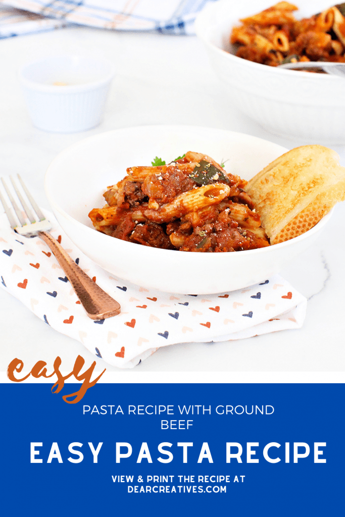 Pasta Recipe With Ground Beef - This is an easy recipe to make. Grab this recipe for pasta dinner and eat in 30 minutes! DearCreatives.com